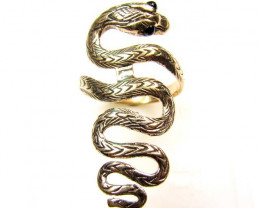 BRONZE SWIRLING SNAKE RING  SIZE Q  code  RT 362a
