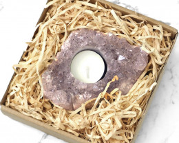 0.75jg Natural Beautiful Amethyst  Tealight Candle Holder S673