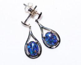 Drop swing Gem Opal triplet Silver Earrings   NA 726