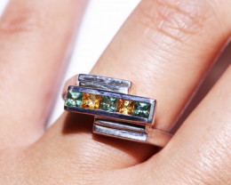 PARTY SAPPHIRES IN STERLING SILVER RING SIZE  O  code GTJA406