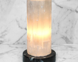 Selenite Lamp with Ancient Fossil Orthoceras Base 20cm