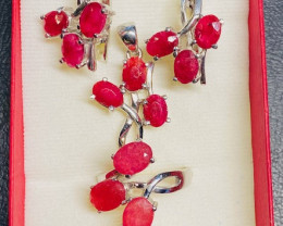 Ruby  Pendant,Earrings Ring  sterling silver Ring size N  CCC 249