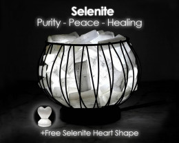 Selenite Crystal Sticks Amore Lamp - LED Bulb and Free Heart Selenite