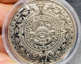 Replica Intricate detailed Aztec One Ounce  Round  Silver Plated