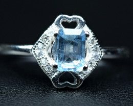 Nice Rect faceted  Aquamarine  Silver Ring size   N   CCC 347