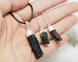 Holistic Raw black Tourmaline Jewelry Set Pack - BRBT1 - Set4