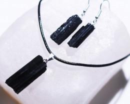 Twelve sets Holistic Raw black Tourmaline 3 pc jewellery Set   BRBT2-12
