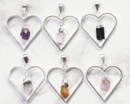 Six Raw Gemstone Lovers Heart Pendants - BRLH - Set1