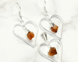 Raw Citrine Gemstone Lovers Heart Pendant and Earring - BRLHC - Set1
