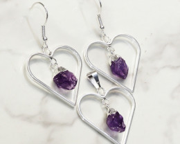Raw Amethyst Gemstone Lovers Heart Pendant and Earring - BRLHA - Set1