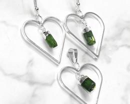 Green Black Tourmaline Lovers Heart Pendant and Earring  Pack - BRLHGBT - S