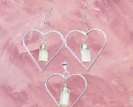 Raw Selenite Gemstone Lovers Heart Pendant and Earring Pack -BRLHSL - Set 4