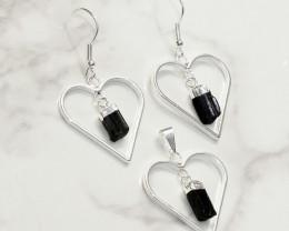 Black Tourmaline Lovers Heart Pendant and Earring - BRLHBT - Set1