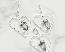 Raw Crystal Gemstone Lovers Heart Pendant and Earring  - BRLHCRY - Set1