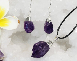 Raw Amethyst Electroform Points Pendant and Earring Pack - BREAMP -Set 12