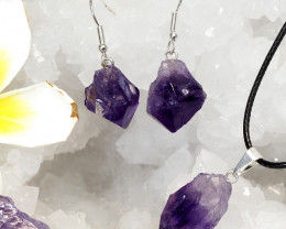 Raw Amethyst Points Pendant and Earring - BRAMP - Set 1