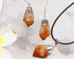 Raw Citrine Electroform Points Pendant and Earring - BRECIT - Set 1