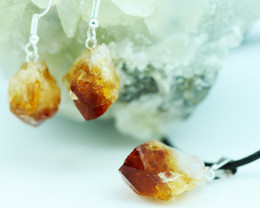 Raw Citrine Points  Pendant and earring    BRACIT-1