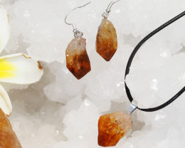 Raw Citrine Points Pendant and Earring Pack - BRACIT - Set 4