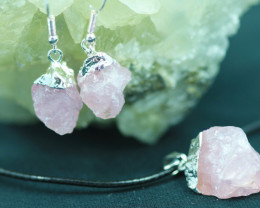 Raw Rose Quartz Points 3pc  Pendant and earring    BRERQ-1