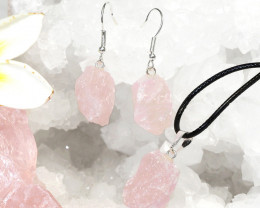 Raw Rose Quartz Points Pendant and Earring - BRARQ - Set 1