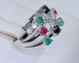 Ruby Emerald And Sapphire 925  size P      CCC 563