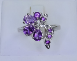 faceted  Cluster amethyst Silver Ring size  K    CCC 566