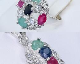Ruby ,emerald, Sapphire 2 pc  Jewellery set   CCC 568