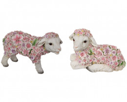 Pink Flowerful Sprink Lambs 2pcs  Code LAMBFLOS