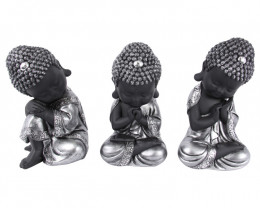 Treasure Box of Silver Cute Buddha 3pcs  Code BUDDCUTE
