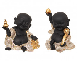 Black/Gold Happy Buddha Monks 2pcs  Code BUDBGHBM