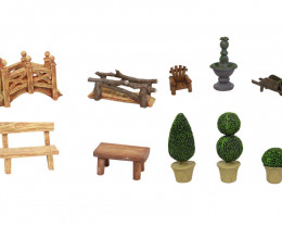 Mini Fairy Garden Furniture 10pcs  Code FAIGARF