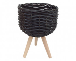 Black Wicker Pot Holder 2pcs   Code WICSMLBL