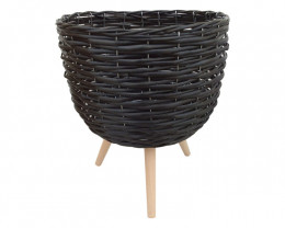 33x40cm Black Wicker Pot Holder  Code WICBIGBL