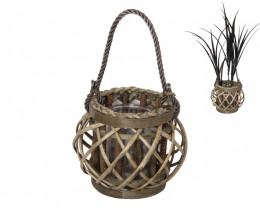 16cm Natural Wicker Plant Holder 2pcs   Code  WICNATS