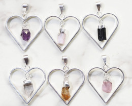 Six Raw Gemstone Lovers Heart Pendants Pack  - BRLH - Set 4
