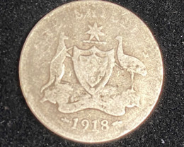 One Australian Sixpence 1918 .925 Silver  code CP 711