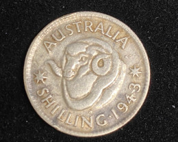 One AustralianShilling 1943 .925 Silver  code CP 713