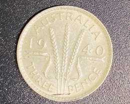 1940 UNC  Australian silver threepence code CP 715