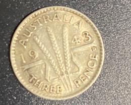 1943 Australian silver three pende code CP 716