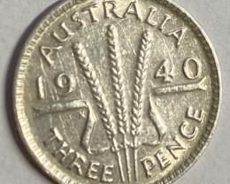 1940  UNC  Australian silver three pende code CP 717