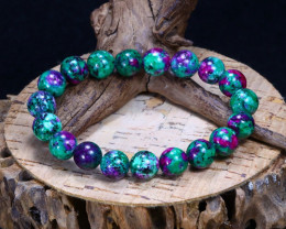 134.4 Cts Ruby Zoisite Beads Bracelet  CCC 602