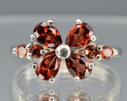 Natural Rhodolite and 925 Silver Ring  CCC 670