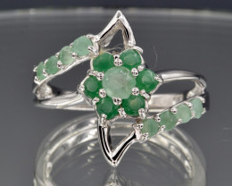 Natural Emerald and 925 Silver Ring  CCC 672
