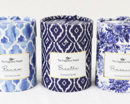 Set of 3 Indigo Blue Premium Fragrance Candle  Code CANINDIGO