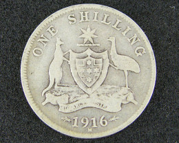 1916 ONE SHILLING COIN 925 SILVER T737