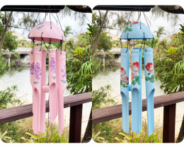 Pink and Blue Bamboo Floral Windchime 2pcs Code BAMWHBP