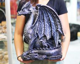 Huge Antique Silver Guarding Dragon  Code DRAGGUAR