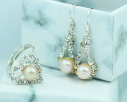Lovers Champagne Pearl set, Heart Shape Adj ring, and Earrings CCC 677