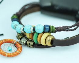Dream catcher    Design Dual Leather Bracelet CCC  681
